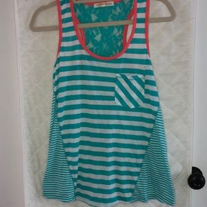 Stripped tank with lace back